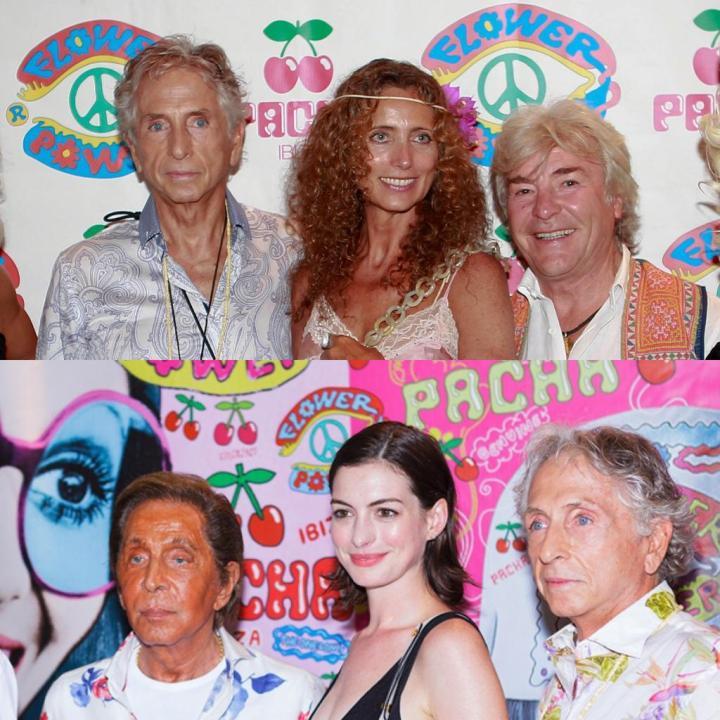 Carlos Martorell con Ángel Nieto y Belinda (arriba) y Anne Hataway y Valentino (abajo) en la fiesta Flower Power VIP en Pacha Ibiza