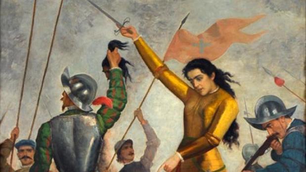 Ilustración de Inés de Suárez luchando en Chile