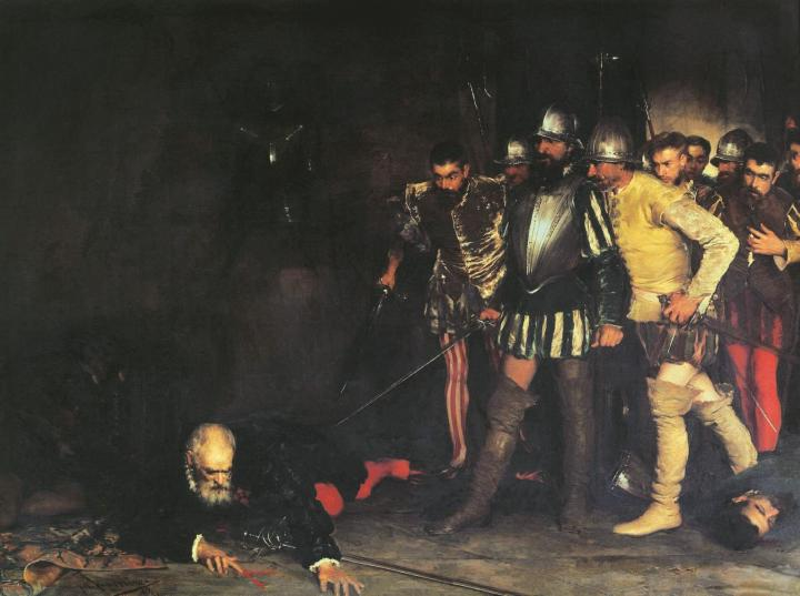 El asesinato de Pizarro pintado por Manuel Ramírez Ibáñez, una obra que se exhibe en el Museo del Prado