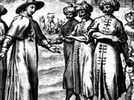Aguafuerte que muestra a un sacerdote negociando la liberación de esclavos