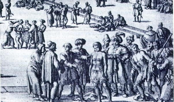 Grabado de una subasta de esclavos moros de la Historie van Barbaryan en des zelfs Zee-Roovers de Pierre Dan (Amsterdam, 1684).  Allí desfilaron, encadenados y casi desnudos, mientras los posibles compradores inspeccionaban la mercancía.