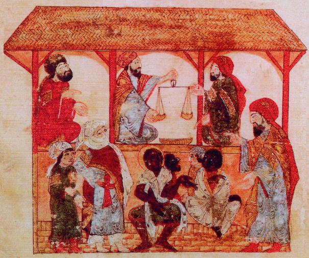 Un mercado de esclavos en Zabid, Yemen, 1237. El precio de venta real alcanzado dependía de las habilidades del individuo, más una estimación de cuánto se podía exigir un rescate por ellos.  (Museo Topkapi Saray)