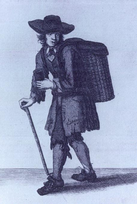 'Remember the Poor Prisoners', un inglés que recolecta limosnas para la redención de esclavos, de Los gritos de la ciudad de Londres de Marcellus Laroon (Londres, 1688).  (Instituto Folger Shakespere)