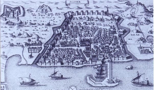 Una vista de Argel desde Neuwe Archonologia Cosmica de Pierre de Montmartin (Frankfurt, 1646).  (Biblioteca del Congreso)