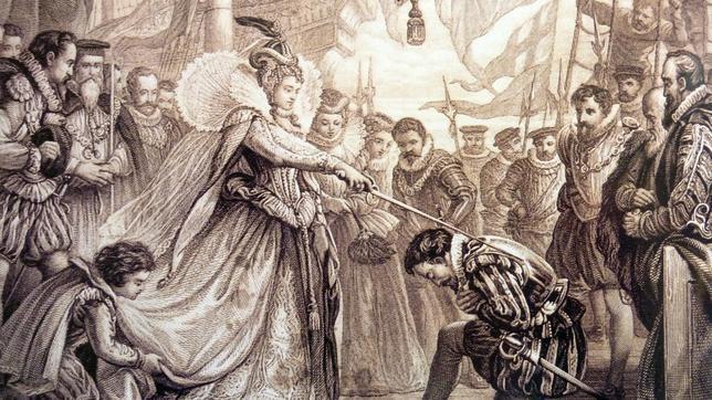 Grabado de la época donde la Reina Isabel I nombra caballero al corsario Francis Drake