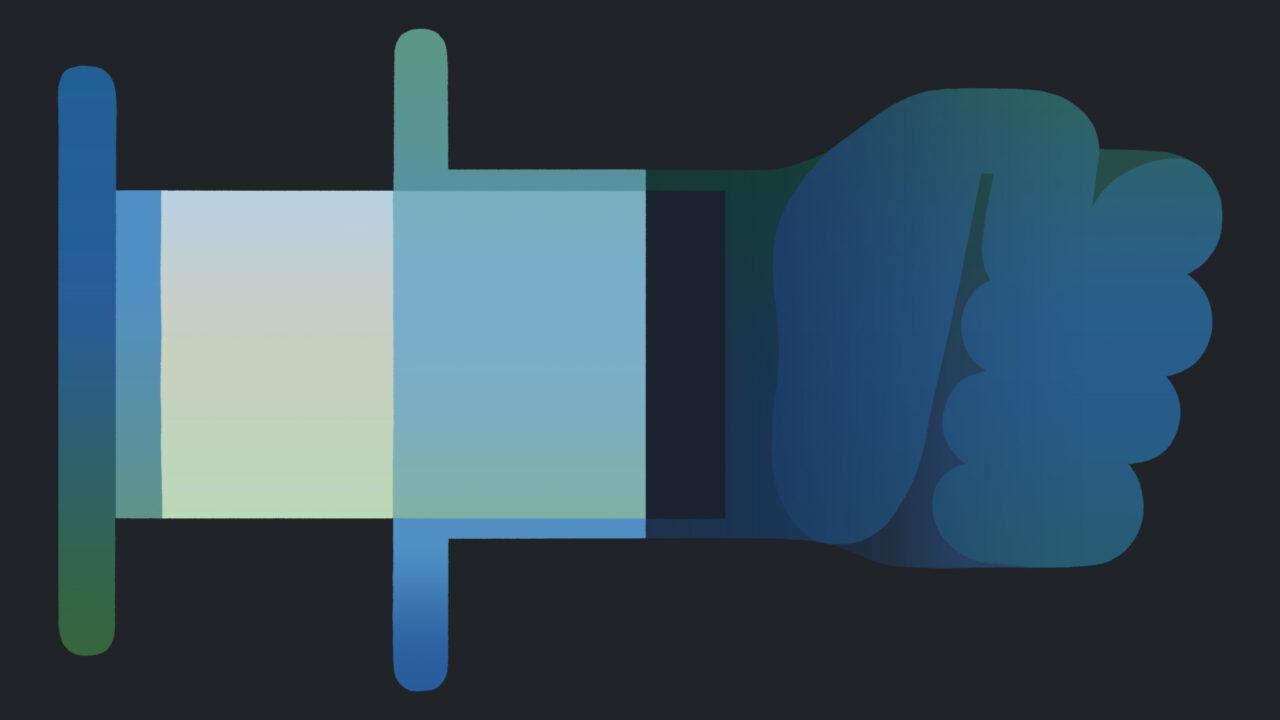 Una ilustración de una inyección que se convierte en un puño.
