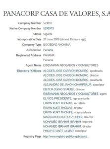 Consejo de administración de Panacorp