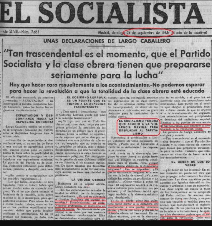 """📻Radiofónico📻 on Twitter: """"Sí, estamos al tanto de vuestras fechorías de  ayer y de hoy.... """"El socialismo tendrá que acudir a la violencia máxima  para desplazar al capitalismo"""" Largo Caballero - Presidente"""