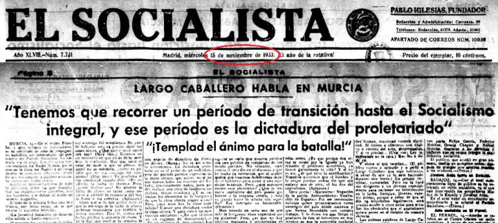 El Socialista 15-11-1933 – España Confidencial